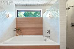 Interior Design Magazine: Master bathroom at a renovated Palo Alto Joseph Eichler house