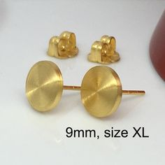 Honeycomb Yellow Disc Stud Earrings Mens Fake Gauge Sterling Silver Posts Nail It Down 420 9my