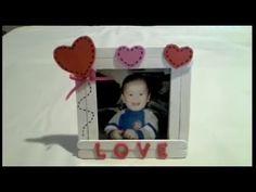 DIY Como hacer un marco fotos para regalar el dia del padre - YouTube Marco Diy, Toy Chest, Storage Chest, Bookends, Scrapbook, Frame, Crafts, Home Decor, Youtube