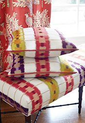 Interior Design Inspiration | Thibaut Design Goa printed fabric in Sun Baked Eaton Ottoman in Sri Lanka Embroidery woven fabric in Red