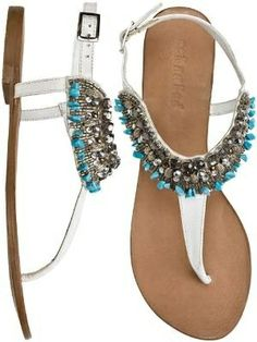 Aqua/White beaded sandals...so cute!!