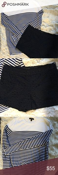 Jcrew bundle,Unique navy eyelet shorts and topEUC Very smart and classic .Jcrew eyelet fully lined shorts with side zip . Worn 2 times. Size 0. Lightweight jcrew navy and white stripe sweater . NWOT. Size S J. Crew Sweaters Crew & Scoop Necks