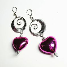Only 6.99! - SALE Posh Silver Spiral Pendant Earrings w/Large Puffed Metallic Hot Pink Heart Beads & Ribbon Shimmer Balls Mother's Day Gift FREE USA SHIPPING https://www.etsy.com/listing/229293611/sale-posh-silver-textured-spiral-pendant #Etsyshop  #EtsySale #HotPinkMetallicHearts #HotPinkEarrings #WireWrappedHearts  #LargeHeartEarrings  #GiftsForHer  #JewelryGiftIdeas #MothersDayGifts  #JewelryForMom