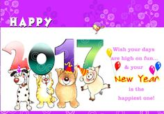 New year Greeting Cards 2017 Funny kids