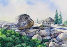 Yosemite CA/ Landscape Watercolor Painting/ by OlenaBacasArt