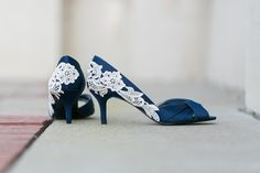 Cute and unique shoes for the something blue! - Navy Blue Bridal Shoes, Navy Wedding Heels with Ivory Lace ...