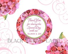 Add a touch of Spring and Summer with pink and purple hydrangeas to your wedding or event with these unique favor stickers. Great for sealing a favor bag, sticking to the side of a favor box, on top of favor tins or welcome bag,...the possibilities are endless!  Thank You for Sharing our Special Day with us! Or text of your choosing, please let me know your color choice for text. See color chart on image #4.  This design is also available in our water bottle labels here…