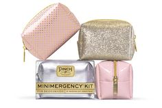 Mix n Match to fit your Bridesmaids personalities. Minimergency Kit for Bridesmaids by Pinch Provisions comes in 4 styles: pink & gold polka dot, champagne glitter, pink patent, or silver metallic.