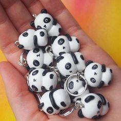 Panda army  •   #pyssel #polymerclay #polymerclaycharms #claycreation #charms #clay #art #diy #kawaii #kawaiicharms #cute #food #icecream #cupcake #foodjewelry #handmade #handgjord #miniaturefood #fimo #premo #sculpey #insta #doityourself #miniature #nyckelring #panda #pandas #pandor #etsy #summer2017