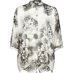River Island - Black and white florals chiffon shirt