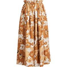Chloé Floral-print maxi skirt (13,610 MXN) ❤ liked on Polyvore featuring skirts, brown print, flower print skirt, floral maxi skirt, floral skirt, elastic waist skirt and ruffle maxi skirt