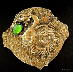 Antique Art Nouveau Winged Dragon Brooch Brass with Green Glass