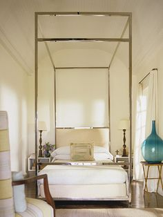 Bedroom interior design and decor ideas -  Love the chrome four poster bed - Pieter Estersohn | 1stdibs Photo Archive Search