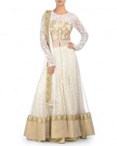 White Jacket Lengha Set with Gota Embellished Bodice - Kylee - Designers