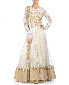 White Jacket Lengha Set with Gota Embellished Bodice - Kylee - Designers