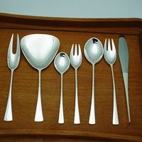 "DANSK TJORN 42 PC. FLATWARE SET, STERLING SILVER. DESIGNED BY JENS QUISTGAARD IN 1950'S $6,500.00 Set is for 8 place settings and 2 serving pieces Includes:  8 dinner knives 8 1/2"" long, stainless blade 8 dinner forks 7 5/8"" long 8 dinner spoons 7 5/8"" long 8 luncheon forks 7"" long 8 tea/coffee spoons 6"" long 1 meat fork 7 1/2"" long 1 serving flat spoon 7 5/8"" long  Condition: fine vintage, preowned"