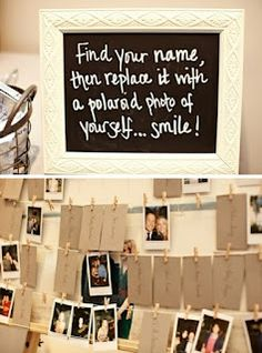 this would be fun for engagement party or wedding. more so engagement .. i could create an album with the prints, and each person could leave a note on the bottom.