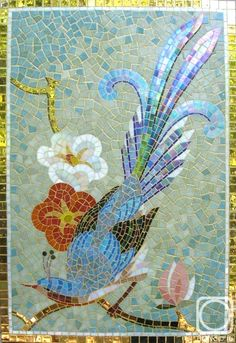 Mosaic bird and cherry blossoms, love the fade to iridescent on the tail and the design on the back.
