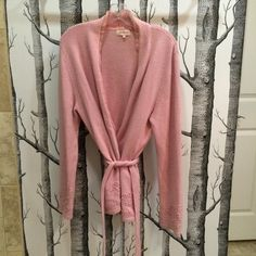 """HP Pink wrap cardigan -great details *Was $60* Light pink wrap sweater with belt included. Belt can be removed. Deep v neck. Collar and edge have a lighter sheer fabric as lining. Made from lambs wool, viscose, angora, and nylon. Sleeves and hem have clear beads and knit poms as detail. Size 4. Shoulder to hem 29"""", across waist is 20"""".  One small stain on sleeve - see picture. Host pick 5/22 Pop of Color Jackpot Sweaters Cardigans"""