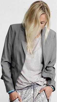 Plus Fine - Rinon blazer - Grey - Serafine.dk - Cool og Casual Online Fashion