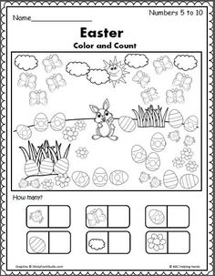 Easter Color And Count Preschool Worksheet Easter Spring Counting 5 To 10 Easter Worksheets Coloring Easter Color And Count Preschool Worksheet Color Worksheets For Preschool, Easter Worksheets, Easter Activities, Spring Activities, Kindergarten Worksheets, Coloring Worksheets, Seasons Worksheets, Alphabet Worksheets, Printable Worksheets
