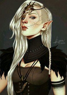 Female elf; facial tattoos; dragon skull circlet