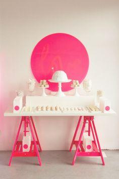 Hot Pink Sawhorse Legs = Fun Dessert Table