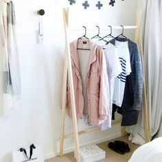 Make your very own simple, beautiful clothes rack in under 15 minutes! (via a little birdy)