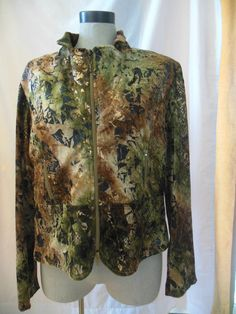 Joseph Ribkoff jacket green gold prints abstract full zip size 16