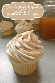 these Vanilla Apple Cupcakes with Apple Cider Buttercream Frosting remind me so much of a fall day watching the cider press in action.