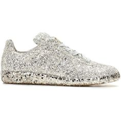Maison Margiela Glittered-Leather Sneakers ($605) ❤ liked on Polyvore featuring shoes, sneakers, maison margiela sneakers, glitter sneakers, glitter shoes, real leather shoes and maison margiela