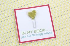 Stitched heart bookmarks with tutorial + printable. Cute homemade Valentine cards!