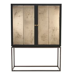 Heston Cabinet  Traditional, Transitional, Metal, Wood, Natural Material, Upholstery  Fabric, Cabinet by Black And Key
