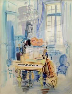 Interieur aux instruments de musique - Raoul Dufy circa 1940  I've taken many images from this blog because they're so good, Watercolor