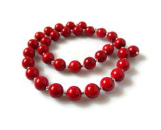 Red Coral Necklace Bold Statement Red Necklace by MsBsDesigns, $285.00