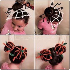 50 Incredible Halloween Hairstyles Super cute pipe cleaner hairstyles - spider and pumpkin patch buns. Love this idea for Halloween, Thanksgiving and maybe even crazy hair day! Crazy Hat Day, Crazy Hair Day At School, Crazy Hats, Little Girl Hairstyles, Cute Hairstyles, Halloween Hairstyles, Wacky Hair Days, Pinterest Hair, Maquillage Halloween