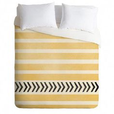 New Yellow Stripes and Arrows Duvet Cover Set by East Urban Home Bedding Furniture. Fashion is a popular style Bedding Sets Online, King Bedding Sets, King Duvet, Queen Duvet, Duvet Sets, Comforter, Sports Bedding, Matching Bedding And Curtains, Bedroom Curtains