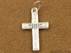 Sterling Silver Stamped Cross Charm / Pendant with by Beadspoint, $2.99