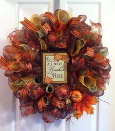 Welcome your guests this Thanksgiving with this warm, festive wreath! It features beautiful glistening fall ribbon along with a pumpkin pick