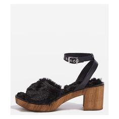 TopShop Vinnie Faux Fur Footbed Sandals (£73) via Polyvore featuring shoes, sandals, black shoes, synthetic shoes, faux fur sandals, topshop shoes and high heel shoes