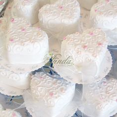 Heart-shaped wedding cupcakes