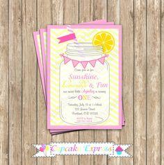 DIY Pink Lemonade Sunshine Birthday Party  PRINTABLE Invitation 5x7  summer  lemons pink yellow