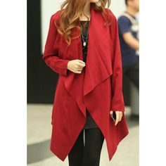 Stylish Long Sleeves Solid Color Asymmetric Trench Coat For Women | NastyDress.com
