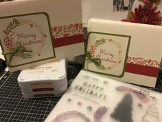 December Class using D1676, White Pines card kit stamp, also Close To My Heart inks Fern, Cranberry, Champagne.