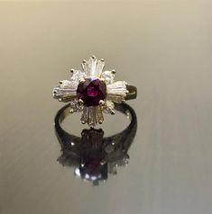 ac2382e0391e 14K anillo de compromiso de rubí diamante amarillo oro Art Decó - Art Deco  14K anillo de diamante anillo de bodas de rubí - rubí diamante anillo - Art  Deco ...
