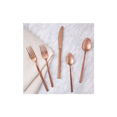 West Elm Copper Flatware, 20 Piece Set - Flatware - Utensils - Place... ($140) ❤ liked on Polyvore featuring home, kitchen & dining, gold, copper silverware, copper utensils, copper flatware and west elm