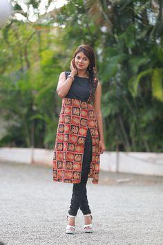 Different types of kurtis designs - Simple Craft Ideas Kurta Designs Women, Salwar Designs, Kurti Neck Designs, Blouse Designs, Dress Designs, Kalamkari Kurti, Kalamkari Dresses, Chudidhar Designs, Kalamkari Designs