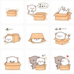 Cute Love Gif, Cute Love Pictures, Chibi Cat, Cute Chibi, Cute Cartoon Images, Cute Images, Kawaii Drawings, Cute Drawings, Cat Icon