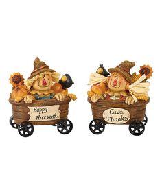 Look what I found on #zulily! Happy Harvest Scarecrow Wagon Figurine Set #zulilyfinds