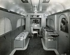 Interior of International Harvester Jungle Yacht, used in Africa 1937-1947